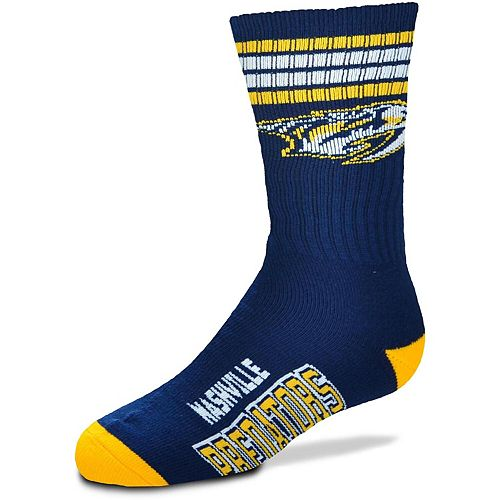 Youth For Bare Feet Nashville Predators 4-Stripe Deuce Quarter-Length Socks