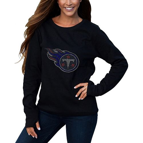 Women's Cuce Black Tennessee Titans Halfback Fleece Pullover Sweatshirt