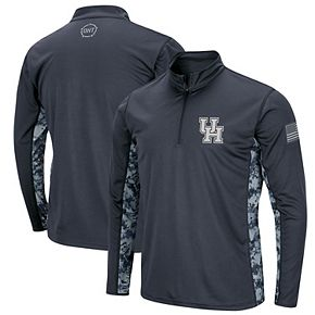 Men's Colosseum Charcoal Houston Cougars OHT Military Appreciation Digital Camo Quarter-Zip Pullover Jacket