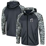 Men's Colosseum Charcoal/Camo Maryland Terrapins OHT Military Appreciation Digi Camo Raglan Full-Zip Hoodie