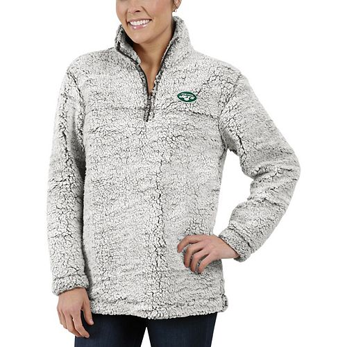 Women's Gray New York Jets Sherpa Quarter-Zip Pullover Jacket