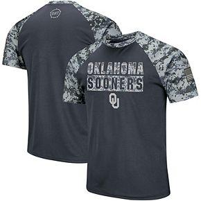 Men's Colosseum Charcoal/Camo Oklahoma Sooners OHT Military Appreciation Digi Camo Raglan T-Shirt