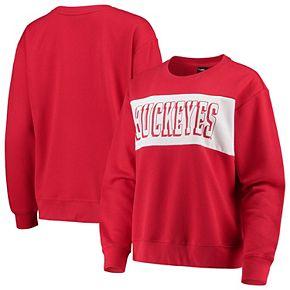 Women's Scarlet/White Ohio State Buckeyes Superstar Colorblocked Crew Sweatshirt