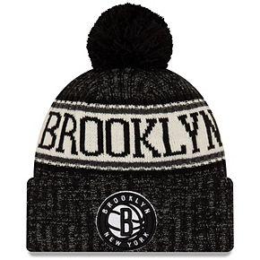 Men's New Era Black Brooklyn Nets Sport Cuffed Knit Hat with Pom