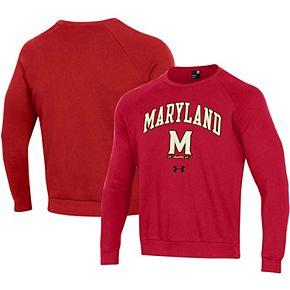 Men's Under Armour Red Maryland Terrapins Arched Fleece Raglan Sweatshirt