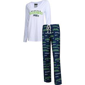 Women's Concepts Sport College Navy Seattle Seahawks Fairway Long Sleeve T-Shirt & Pants Sleep Set