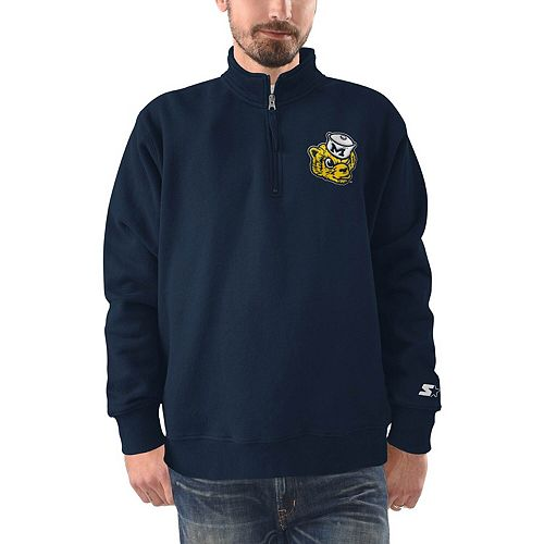 Men's Starter Navy Michigan Wolverines Heisman Quarter-Zip Pullover Jacket