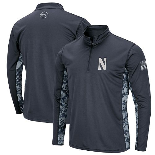 Men's Colosseum Charcoal Northwestern Wildcats OHT Military Appreciation Digital Camo Quarter-Zip Pullover Jacket
