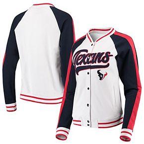 Women's New Era White/Navy Houston Texans Varsity Full Snap Jacket