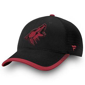 Men's Fanatics Branded Black Arizona Coyotes Iconic Team Pop Trucker Adjustable Snapback Hat