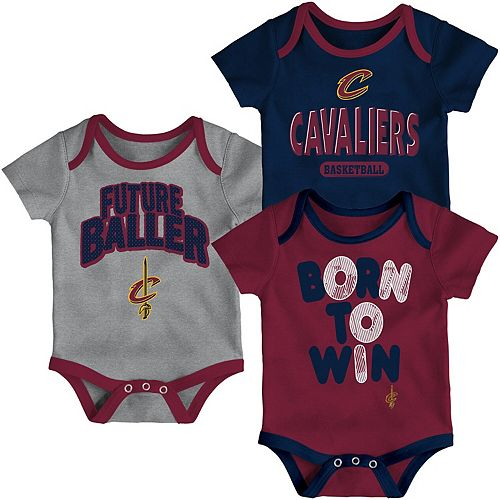 Newborn Wine/Navy/Heathered Gray Cleveland Cavaliers Little Fan Three-Pack Bodysuit Set