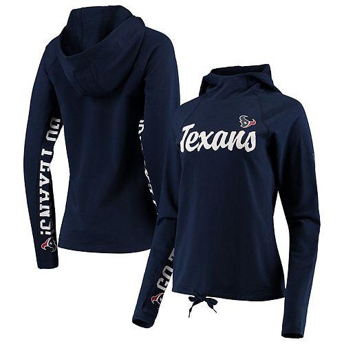 Women's Hands High Navy Houston Texans Sideline Pullover Hoodie