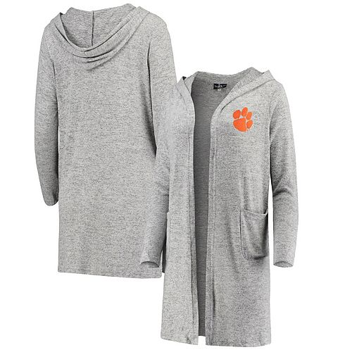 Women's Heathered Gray Clemson Tigers Cuddle Soft Duster Cardigan
