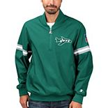 Men's Starter Green New York Jets Throwback Jet Half-Zip Pullover Jacket