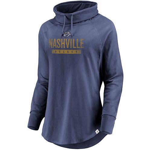 Women's Fanatics Branded Navy Nashville Predators Be A Pro Cowl Neck Sweatshirt