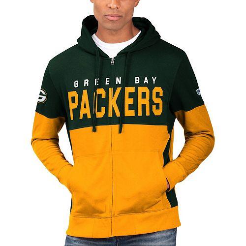 Men's Hands High Green/Gold Green Bay Packers Prime Time Full-Zip Hoodie