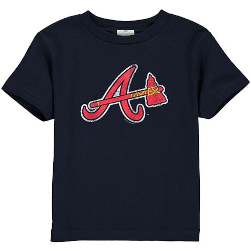 Atlanta Braves Toddler Navy Blue Distressed Logo T-shirt