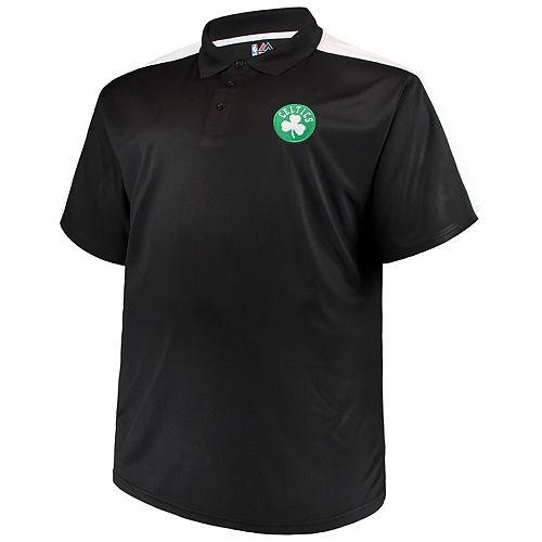 Men's Majestic Black/White Boston Celtics Big & Tall Birdseye Polo