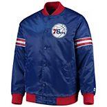 Men's Starter Royal Philadelphia 76ers The Draft Pick Varsity Satin Full-Snap Jacket