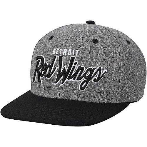 Men's adidas Gray/Black Detroit Red Wings Culture Neutral Wordmark Snapback Adjustable Hat