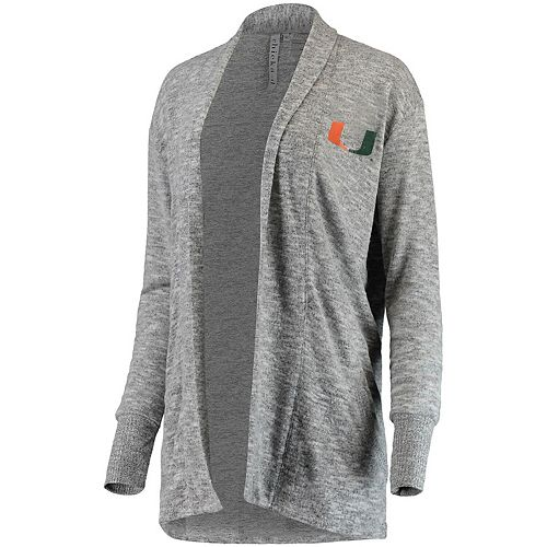 Women's chicka-d Heathered Gray Miami Hurricanes Supersoft Cozy Fleece Campus Tri-Blend Cardigan Sweater
