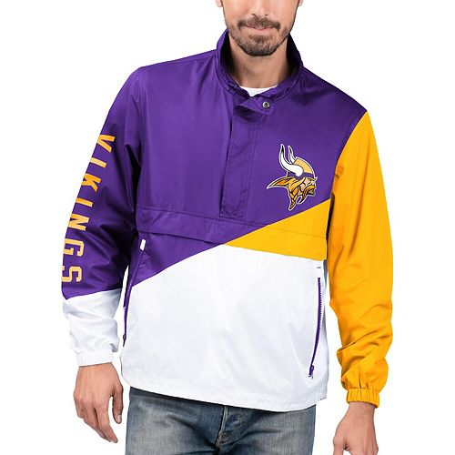 Men's G-III Sports by Carl Banks Purple/White Minnesota Vikings Double Team Half-Zip Pullover Jacket