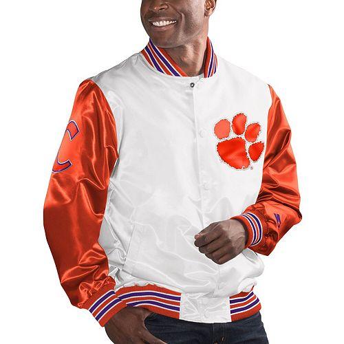 Men's Starter White/Orange Clemson Tigers The Legend Full-Snap Jacket