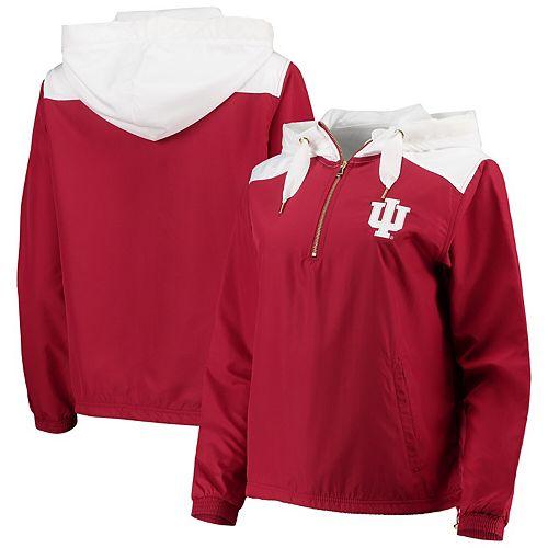 Women's Crimson/White Indiana Hoosiers Colorblock Anorak Quarter-Zip Pullover Jacket
