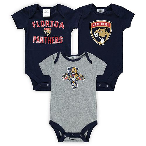 Infant Fanatics Branded Navy/Heathered Gray Florida Panthers Three-Pack Primary Logo Bodysuit Set