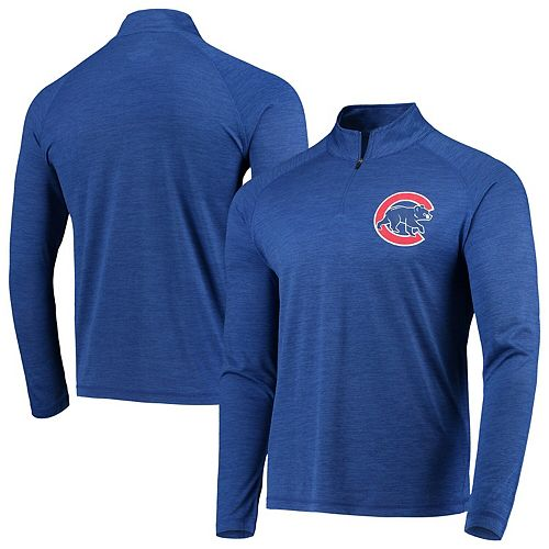 Men's Majestic Heathered Royal Chicago Cubs Striated Primary Logo Cool Base Raglan Half-Zip Pullover Jacket
