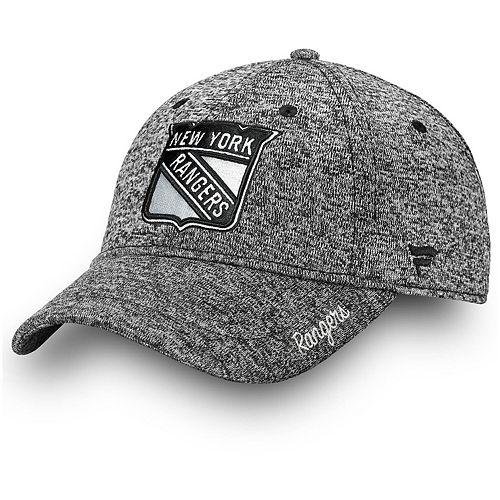 Women's Fanatics Branded Gray New York Rangers Black and White Fundamental Adjustable Hat