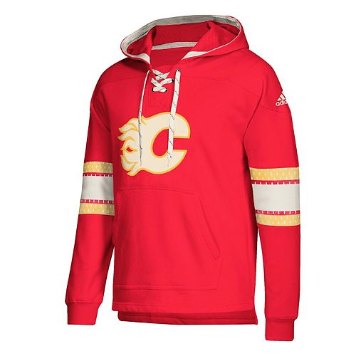 Men's adidas Red Calgary Flames Jersey Lace-Up Pullover Hoodie