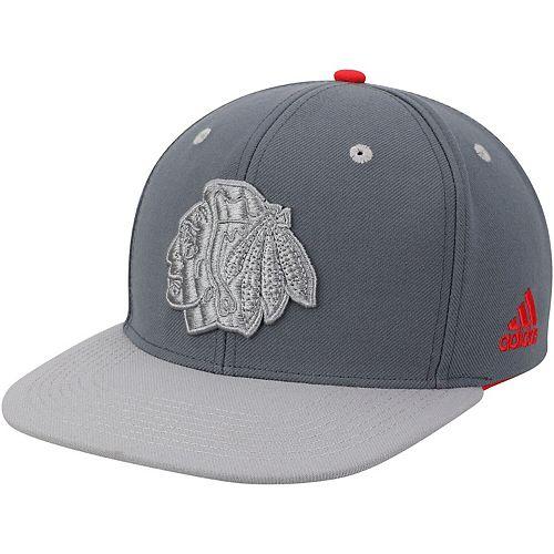 Men's adidas Gray Chicago Blackhawks Team Logo Adjustable Snapback Hat