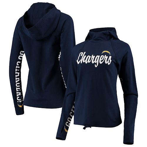 Women's Hands High Navy Los Angeles Chargers Sideline Pullover Hoodie