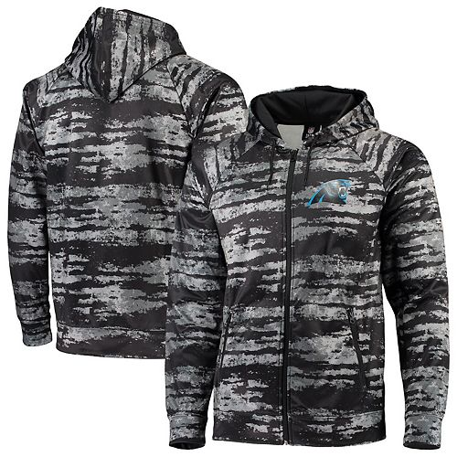 Men's Zubaz Black Carolina Panthers Tonal Oxide Full-Zip Hoodie