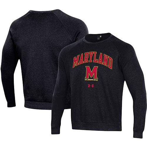 Men's Under Armour Black Maryland Terrapins Arched Fleece Raglan Sweatshirt
