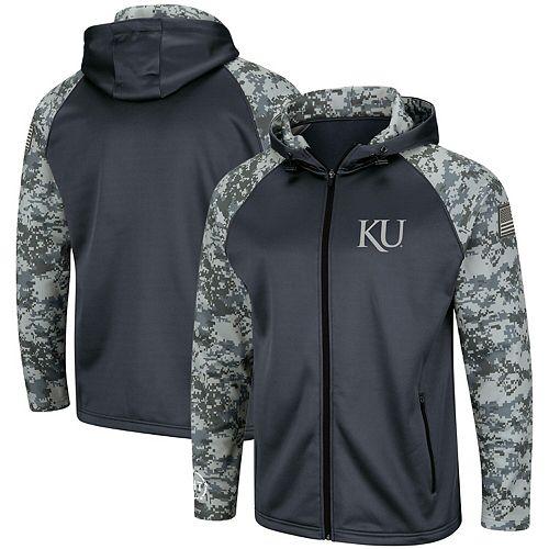 Men's Colosseum Charcoal/Camo Kansas Jayhawks OHT Military Appreciation Digi Camo Raglan Full-Zip Hoodie