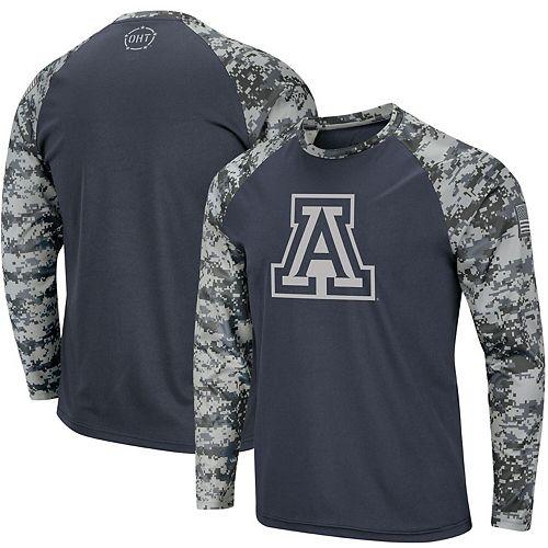 Men's Colosseum Charcoal/Camo Arizona Wildcats OHT Military Appreciation Digi Camo Raglan Long Sleeve T-Shirt