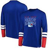 Men's Majestic Royal/Red New York Rangers 5 Minute Major Tri-Blend Long Sleeve T-Shirt