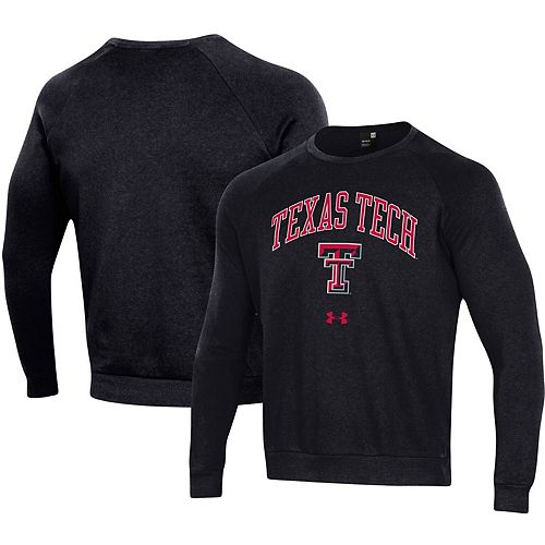 Men's Under Armour Black Texas Tech Red Raiders Arched Fleece Raglan Sweatshirt