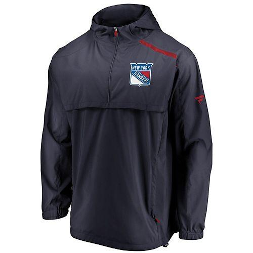 Men's Fanatics Branded Navy New York Rangers Authentic Pro Rinkside Anorak 1/4-Zip Jacket