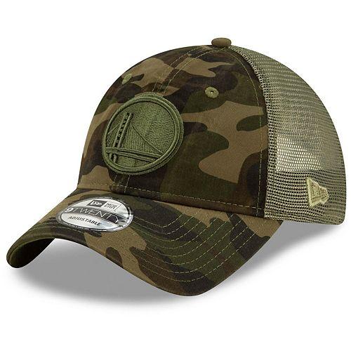 Men's New Era Camo Golden State Warriors Tonal Trucker 9TWENTY Adjustable Snapback Hat