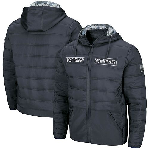 Men's Colosseum Charcoal West Virginia Mountaineers OHT Military Appreciation Full-Zip Puffer Jacket
