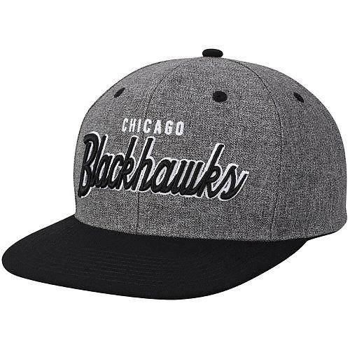 Men's adidas Gray/Black Chicago Blackhawks Culture Neutral Wordmark Snapback Adjustable Hat
