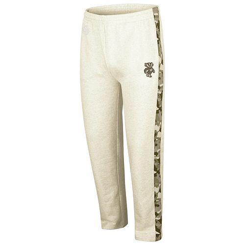 Men's Colosseum Heathered Oatmeal Wisconsin Badgers OHT Military Appreciation Desert Camo Fleece Pants