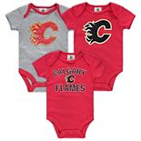 Infant Fanatics Branded Red/Heathered Gray Calgary Flames Three-Pack Primary Logo Bodysuit Set