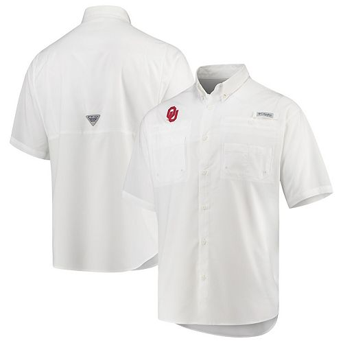 Men's Columbia White Oklahoma Sooners PFG Tamiami Omni-Shade Button-Down Shirt