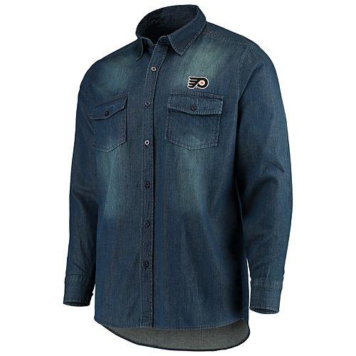 Men's Antigua Denim Philadelphia Flyers Outlook Long Sleeve Button-Up Shirt