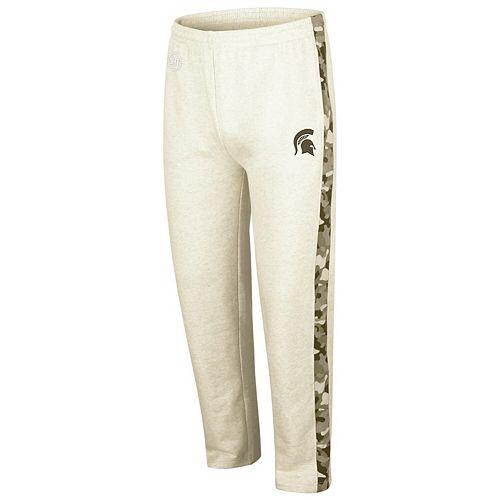 Men's Colosseum Heathered Oatmeal Michigan State Spartans OHT Military Appreciation Desert Camo Fleece Pants