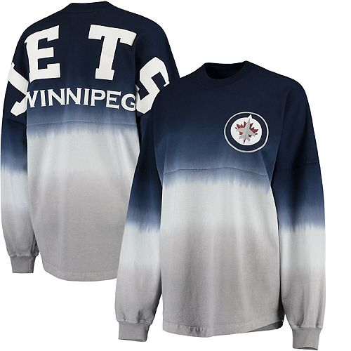 Women's Fanatics Branded Navy/Gray Winnipeg Jets Ombre Spirit Jersey Long Sleeve Oversized T-Shirt